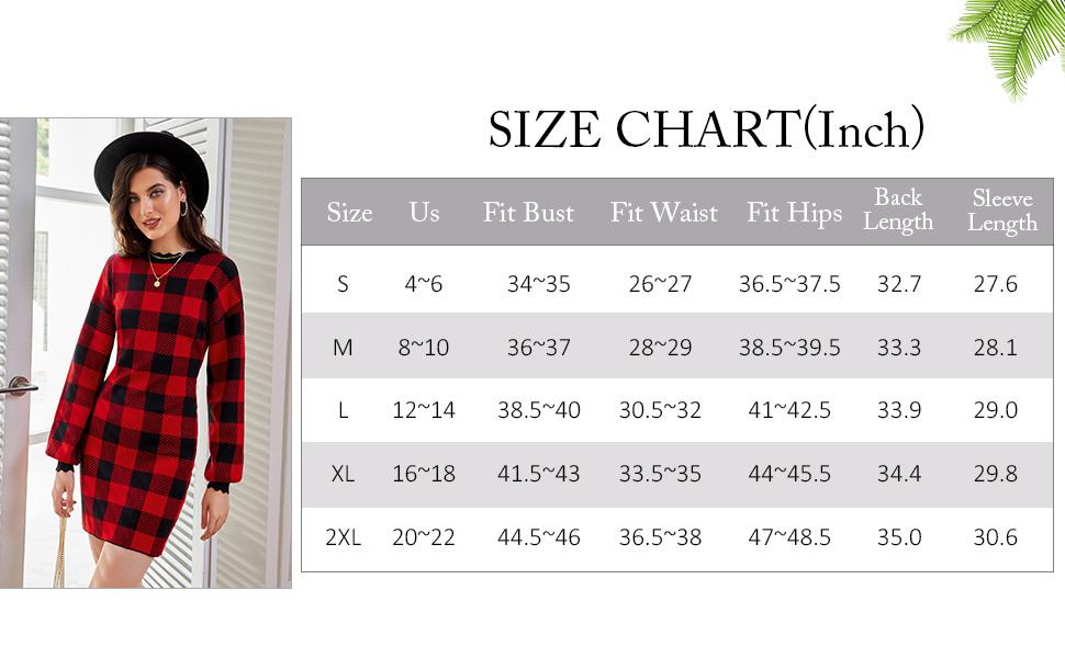 Plaid dress size chart