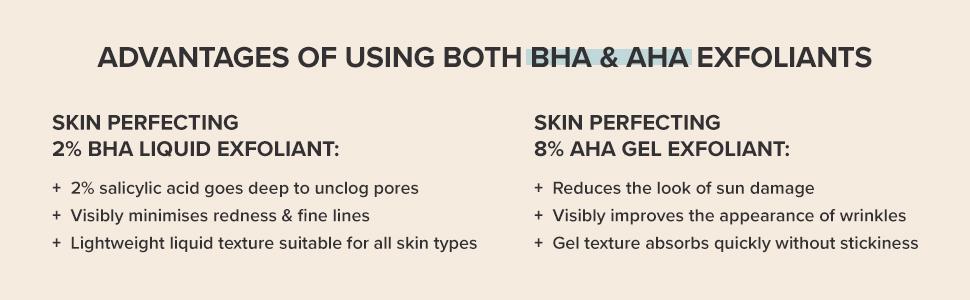 2% BHA Liquid unclogs pores & minimises redness. 8% AHA Gel reduces look of sun damage & wrinkles.