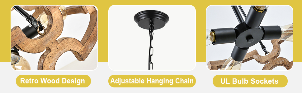 """The chandeliers for dining rooms have a 39.37"""" adjustable chain for height adjustment."""