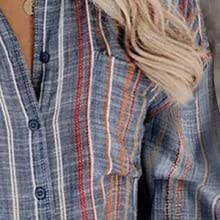 FARYSAYS Womens Striped Button Down Shirts Long Sleeve V Neck Oversized Blouse Tops