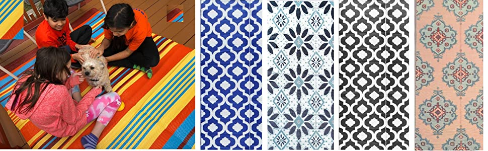 5x7, 6x9, 9x12 Medium to Large plastic straw outdoor rugs for multiple family uses