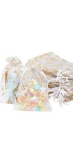 50 Pcs 10x 15cm Organza  Gift Bag(White)