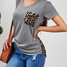 Women Sunflower Print V Neck Patchwork T Shirt for Women Fashion 2021 Cute Loose Blouse with Pocket