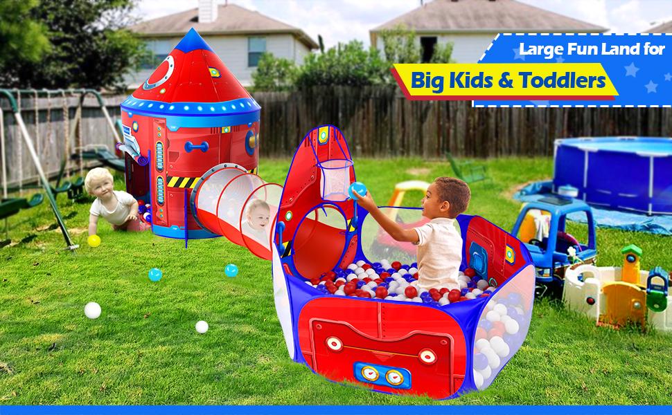 Set up Rocket Ship Kids Tunnel in your Backyard.