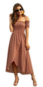 Floral Print Off Shoulder Shirred Split Maxi A Line Dress