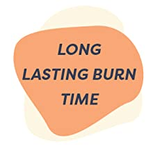 Candle burn times between 37 and 55 hours. Long lasting scented candles made from 100% soy wax