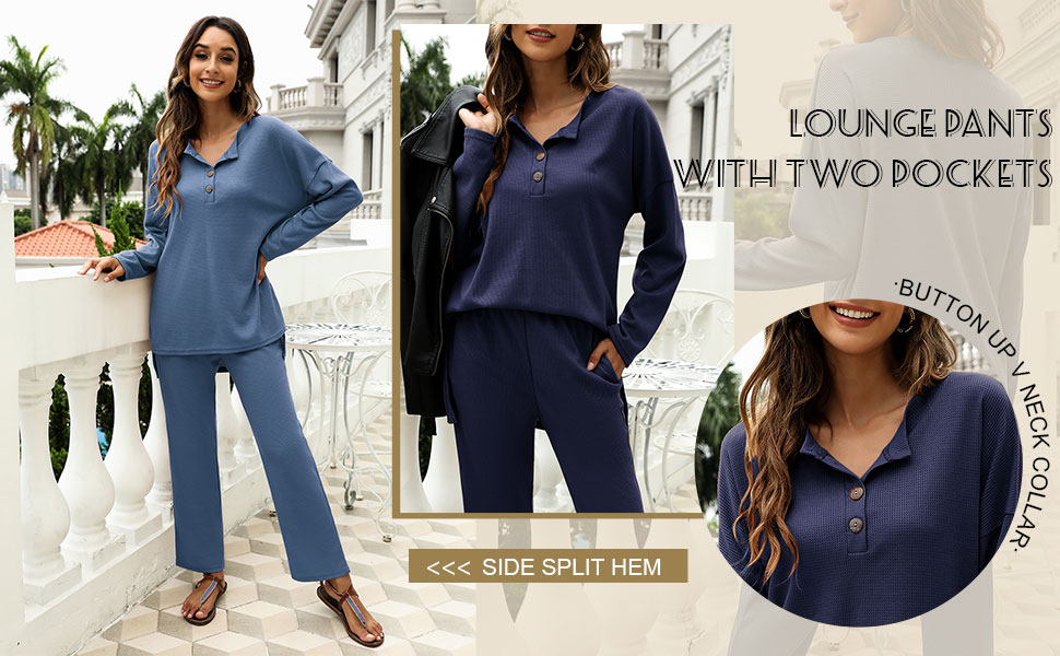 long sleeve lounge sets for women casual long sleeve pajama sets for women