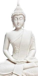 Bellaa Buddha Statues Sitting Meditating Blessing White Marble