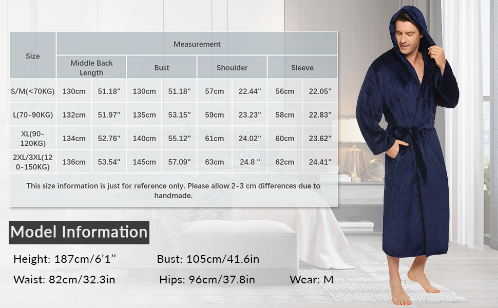 mens long length dressing gown,mens dressing gowns,hooded housecoats men,mens warm dressing gown