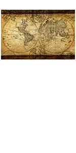 vintage world map canvas wall art