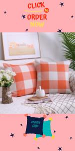 Orange Buffalo Check Pillow Covers
