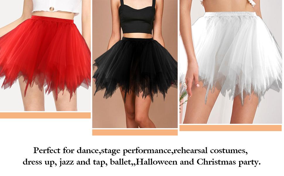 Adult Tutu Skirt Tulle Tutus for Women Ballet Bubble Skirt Halloween Costume