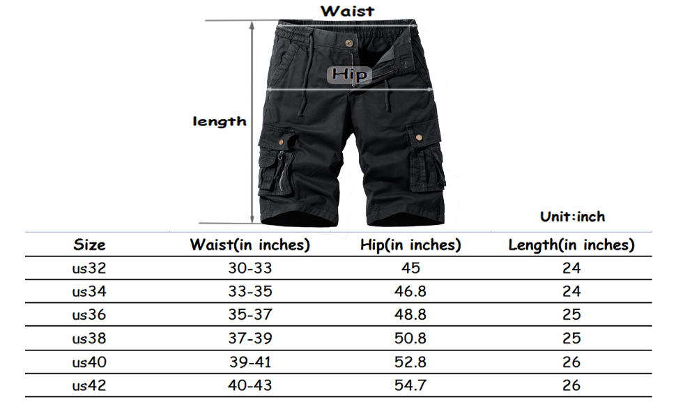 Cargo Shorts Size Chart