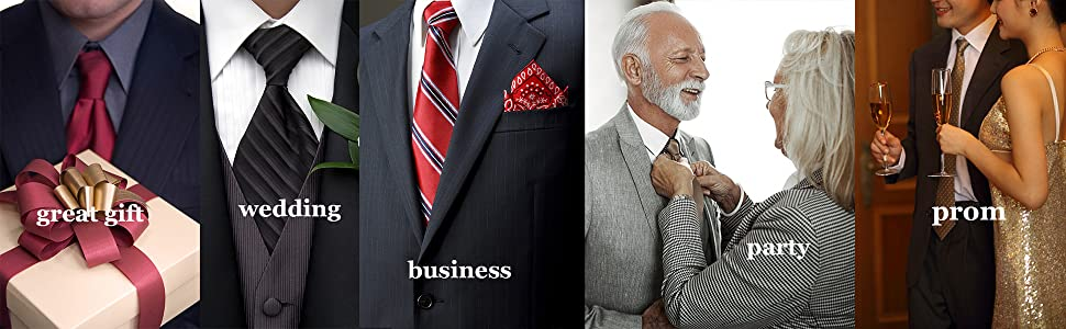 Gift Wedding Business Party Prom Silk Tie Pocket Square Cufflinks Set for Men