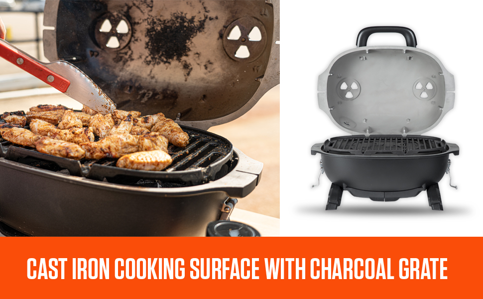 Cast Iron Cooking Surface With Charcoal Grate