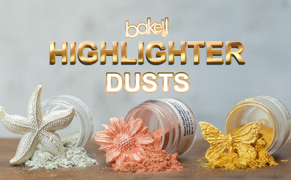 bakell luster dust, 100% edible glitter, gold luster dust, maroon luster dust, rose gold luster