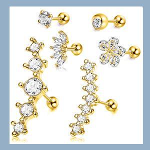 orecchini set orecchini per cartilagine piercing cartilagine in acciaio inox