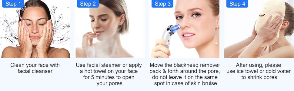 The steps of using the blackhead remover