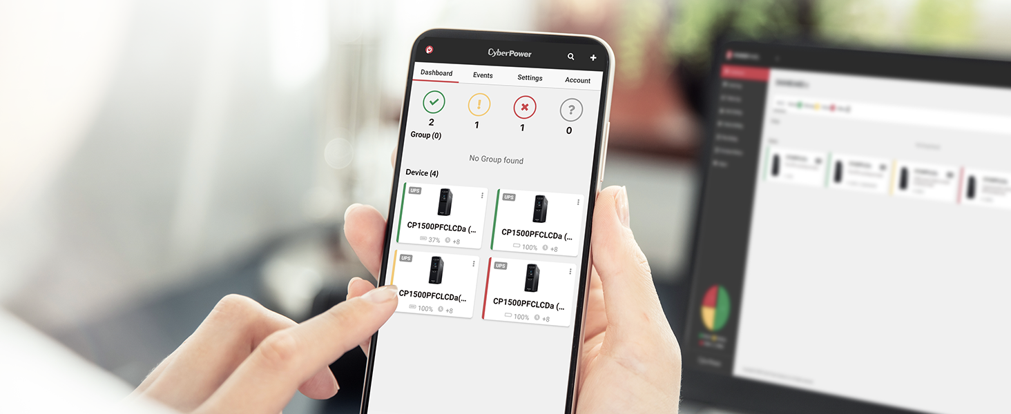 PowerPanel Cloud App remotely monitoring the UPS systems with RCCARD100