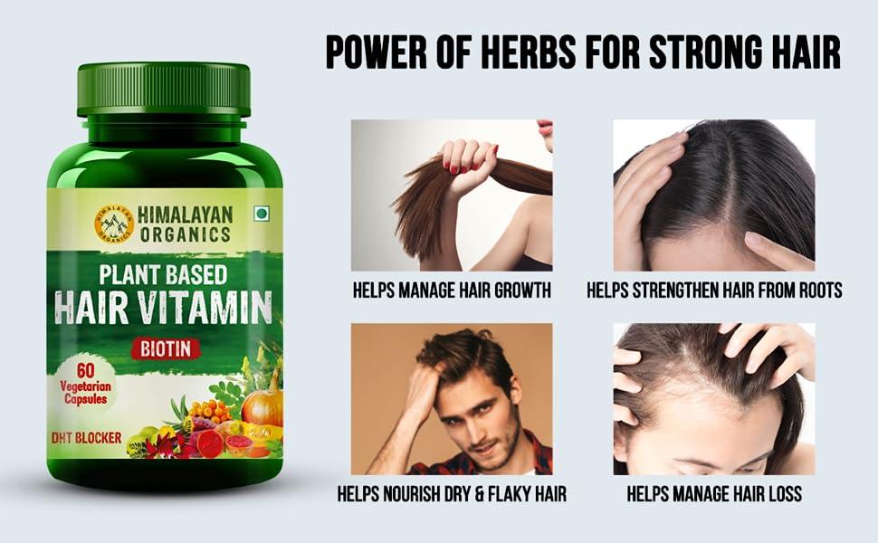Himalayan Organics Plant Based Hair Vitamin - 60 Veg Capsules