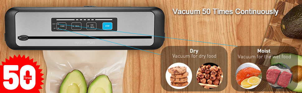 Vacuum 50 times continuously