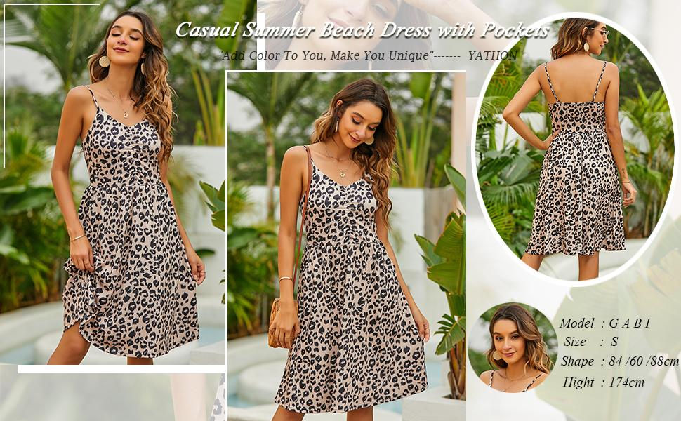 Casual Dresses for Women Cotton Summer Beach Dress A Line Spaghetti Strap Sundresses with Pockets