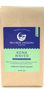 Kona coffee beans blend whole bean medium roast 2lb bulk hawaii gourmet hawaiian arabica river moon