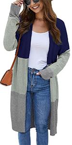 Solid color block(blue/red/black/apricot), long sleeve, open front, side pocket, loose