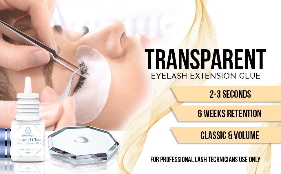 Transparent eyelash extension glue