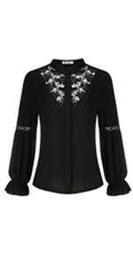 Women Lace Patchwork Shirt Long Sleeves Stand Collar Button-up Blouse