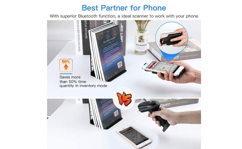 portable handheld wireless Bluetooth back clip barcode scanner