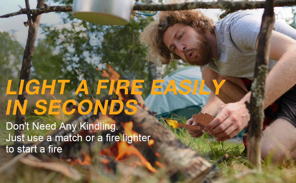Light a fire easily in seconds, don't need any kindling