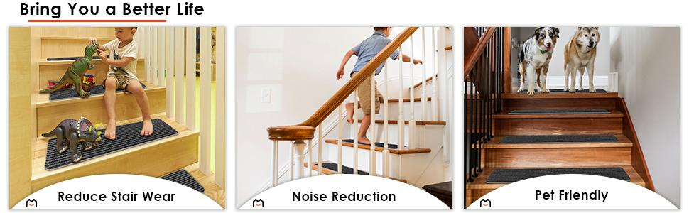 reduce stair wear, noise reduction, pet friendly