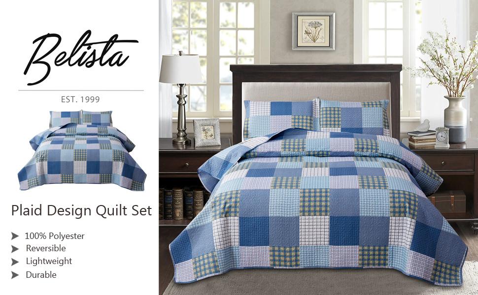 ink blue dark blue Plaid Design All Season Coverlet Bedspread Bedding Set