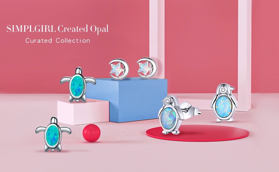 SIMPLGIRL 925 sterling silver blue stud earrings for women girls gifts for her