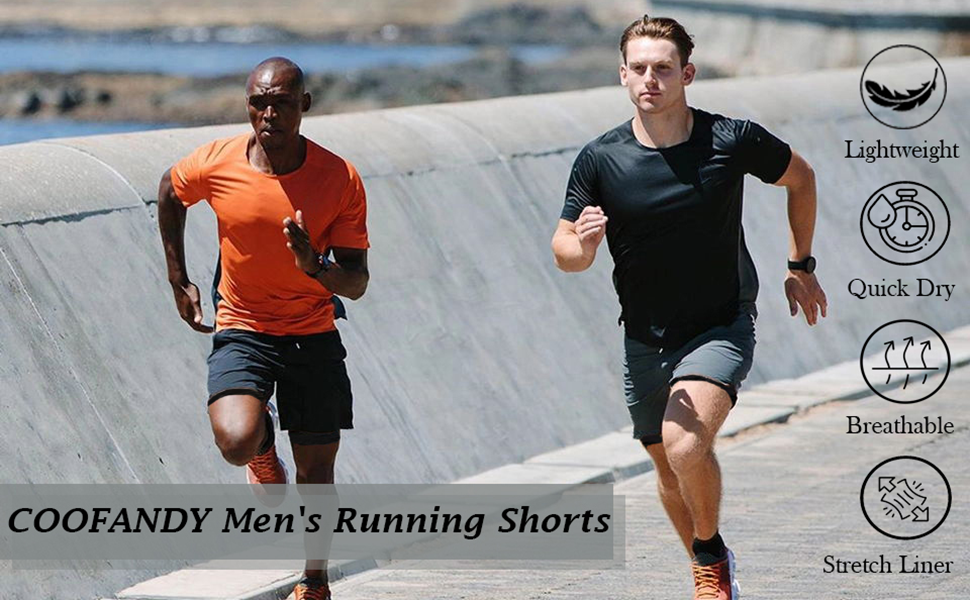 mens workout shorts 2 in 1
