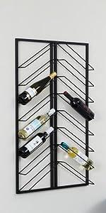 wijnrek, metaal, zwart, minimalistisch, industrieel, 8 wijnflessen, 8 planken