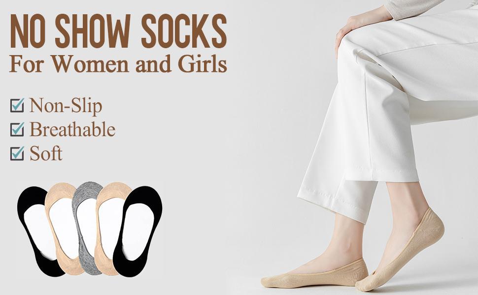 5 pairs no show socks women