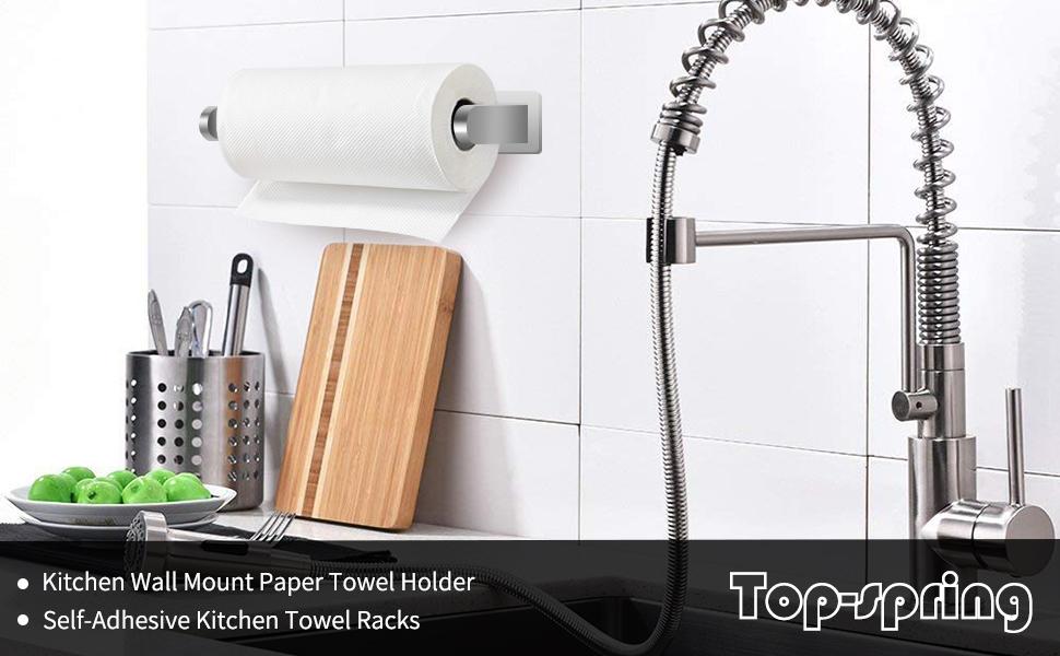 Top-Spring  Kitchen Wall Mount Paper Towel Holder Self-Adhesive Kitchen Towel Racks