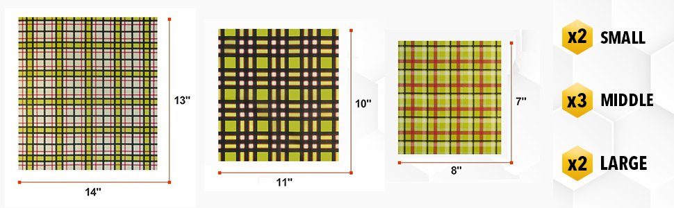 """Beeswax food wrap includes 2 Small (7"""" x 8""""), and 3 Medium (10"""" x 11""""), 2 Large (13"""" x 14"""") wraps"""