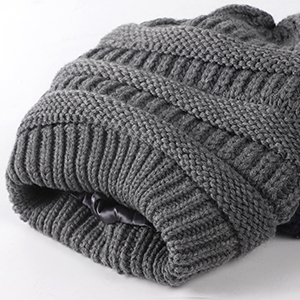 Satin Lined Cable Beanie Grey