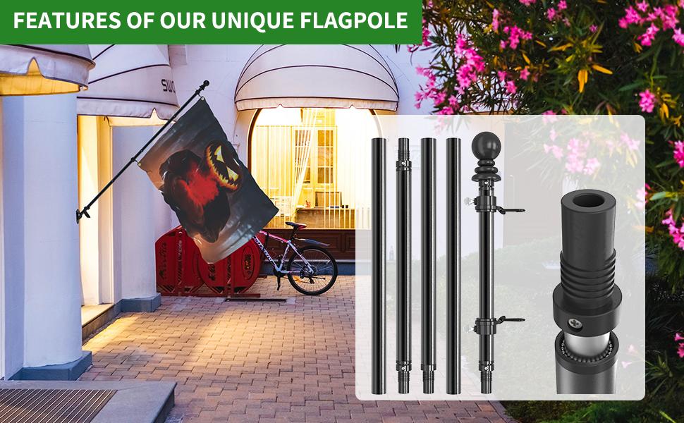 black flag pole for house