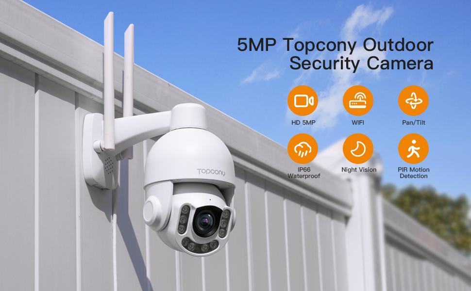 5MP Topcony Outdoor Security Camera