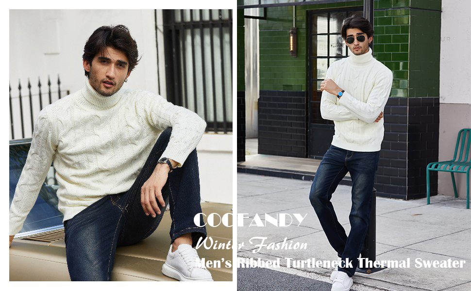 mens cable knit sweater slim fit turtleneck men ribbed Coofandy turtleneck sweater