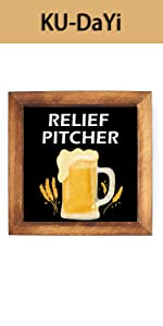 Relief Pitcher Framed Block Sign Rustic