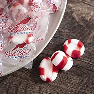 red bird handcrafted peppermint puffs individually wrapped mints red white candy
