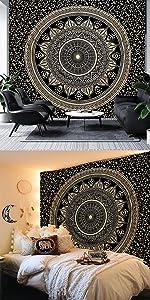 Black amp;amp;amp; Gold Mandala Tapestry