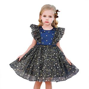 Little girl in black sparkling dress