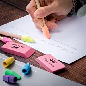 Pencil Erasers Set, 6pc Pink Erasers and 60pc Pencil Top Erasers, Pencil Eraser