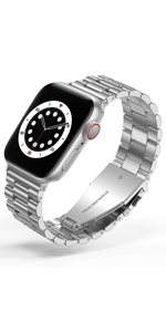 Business stainless steel for apple watch band Silver
